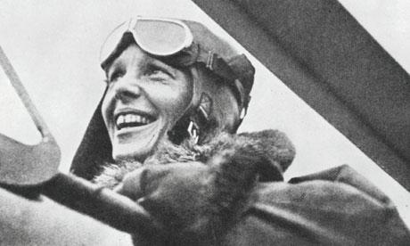 American pilot Amelia Earhart in her plane